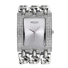 WEIQIN Women's Square Dial Rhinestone Case Quartz Watch - Silver