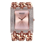 WEIQIN Women's Square Dial Rhinestone Case Quartz Watch - Rose Gold