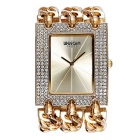 WEIQIN Women's Square Dial Rhinestone Case Watch - Golden + Yellow