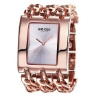 WeiQin Women's Square Dial Simple Scale Watch - Rose Gold + Silver