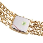 WeiQin Women's Square Dial Simple Scale Watch Bracelet - Gold + Silver