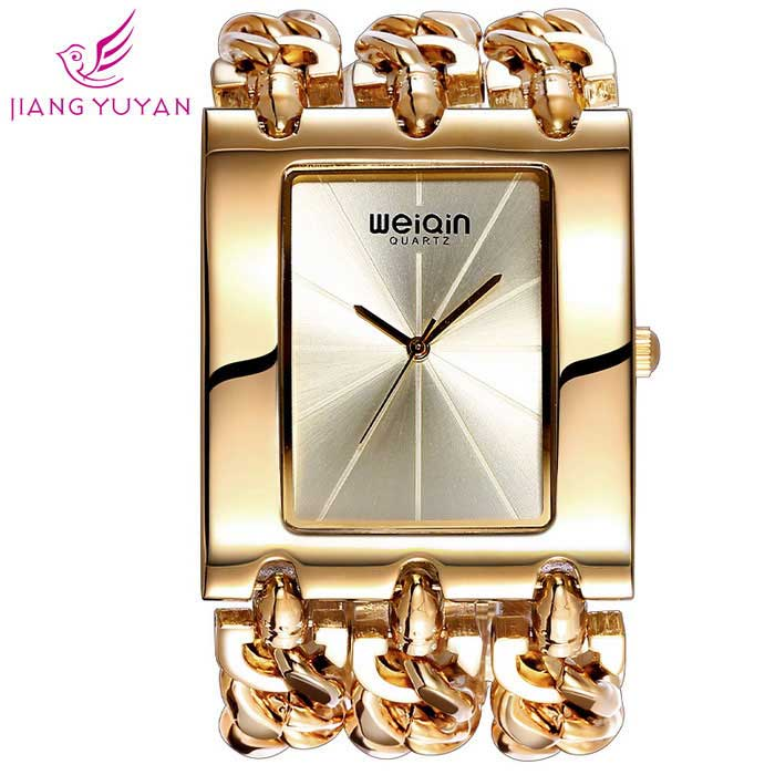 Plaza del WeiQin Mujeres Dial escala simple reloj de pulsera - Golden
