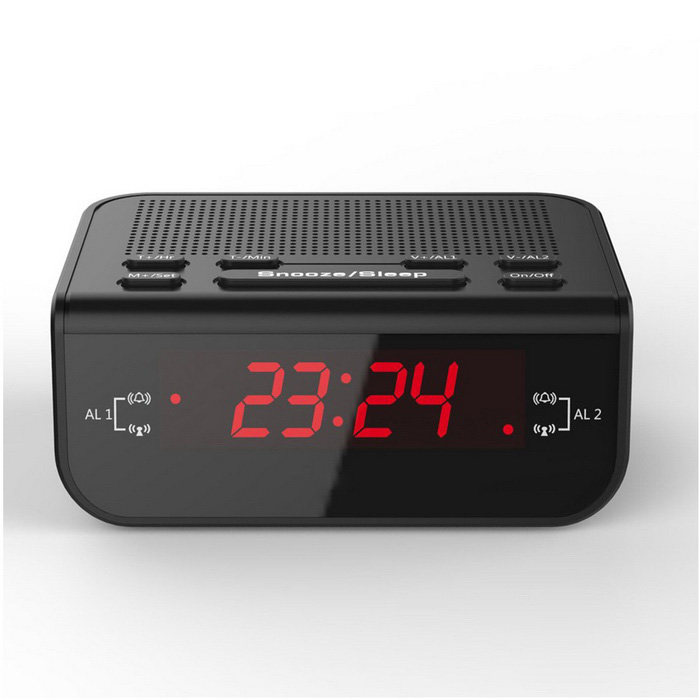 digital alarm clock fm radio w dual alarm red led snooze black free shipping dealextreme. Black Bedroom Furniture Sets. Home Design Ideas