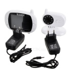 "3.5"" TFT LCD Oval Wireless Digital Video Baby Monitor - White + Black"