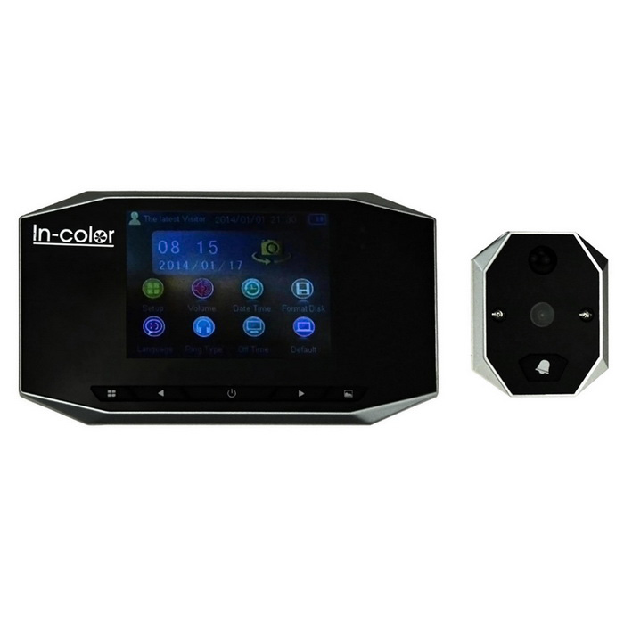 "IN-colorida de 3,5 ""TFT Intelligent Digital Door Viewer - preto + cinza"