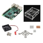 Raspberry Pi 3 Model B + V31 Acrylic Case + Fan + 3 Heatsinks - Groen