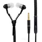 Metal Zipper Style 3.5mm Stereo Music Earphones with Mic - Black
