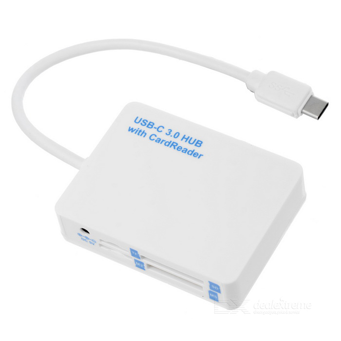 USB Type-C to 2-Port USB 3.0 Hub + TF/ M2/ SD/ MS Card Reader - White
