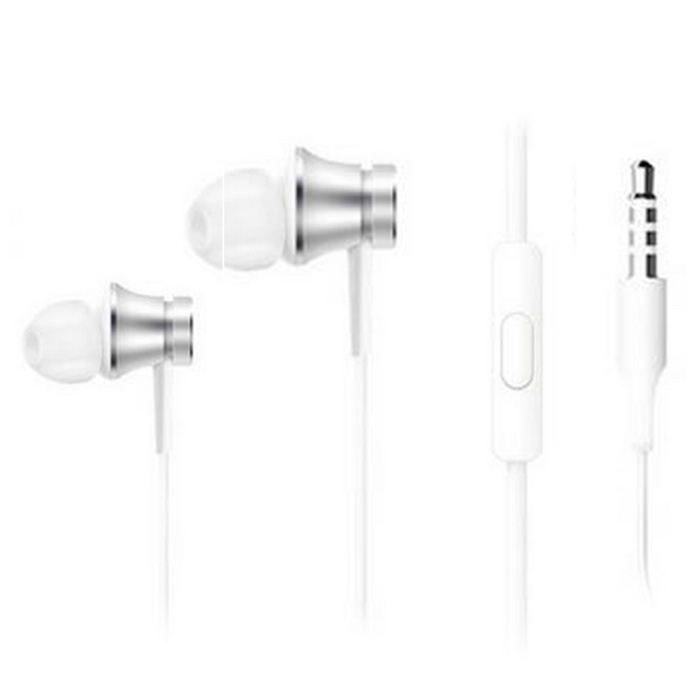 Original Xiaomi Basic Version 3.5mm In-Ear Earphones w/ Mic - Silver