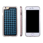 Soft TPU + PU Woven Pattern Back Case for IPHONE SE/5S - Black + Blue