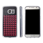 Woven Pattern Back Case for Samsung Galaxy S7 Edge - Black + Red