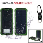 "SUNGZU ""12000mAh"" Dual USB Solar Power Battery Bank w/ Compass - Green"