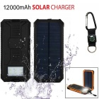 "SUNGZU ""12000mAh"" Dual USB Solar Power Battery Bank w/ Compass - Black"