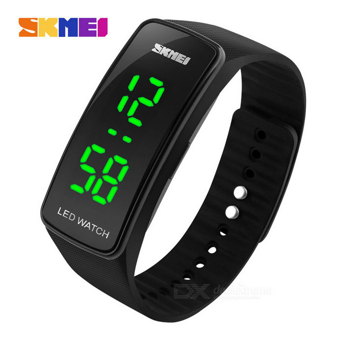 SKMEI Outdoor Sports Timing LED Watch - Zwart (1 * CR1225)