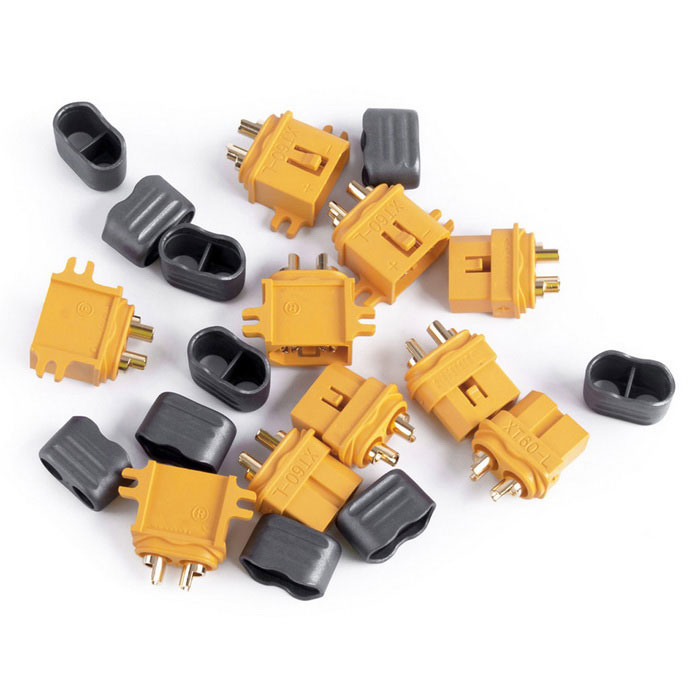 XT60-L Male + Female Plug Connector w/ Sheath Housing -Yellow(5 Pairs)Other Accessories for R/C Toys<br>Form  ColorYellowModelXT60-LMaterialNylon / PAQuantity5 DX.PCM.Model.AttributeModel.UnitCompatible ModelUniversalPacking List5 * T60-L male plugs5 * T60-L female plugs10 * Sheathes<br>
