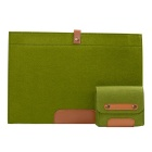 "Wool Felt Inner Bag + Accessory Bag Set for MACBOOK Pro 15"" - Green"