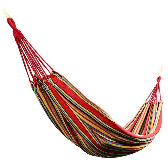 Sunfield Single Person Cotton Swing Hammock - Red + Multi-Colored