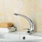 Slim Single Handle Hot / Cold Water Bathroom Sink Faucet - Silver