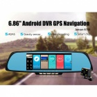 "Junsun 6.86"" Dual Lens Car DVR Rearview Camera w/ GPS,  Brazil Map"