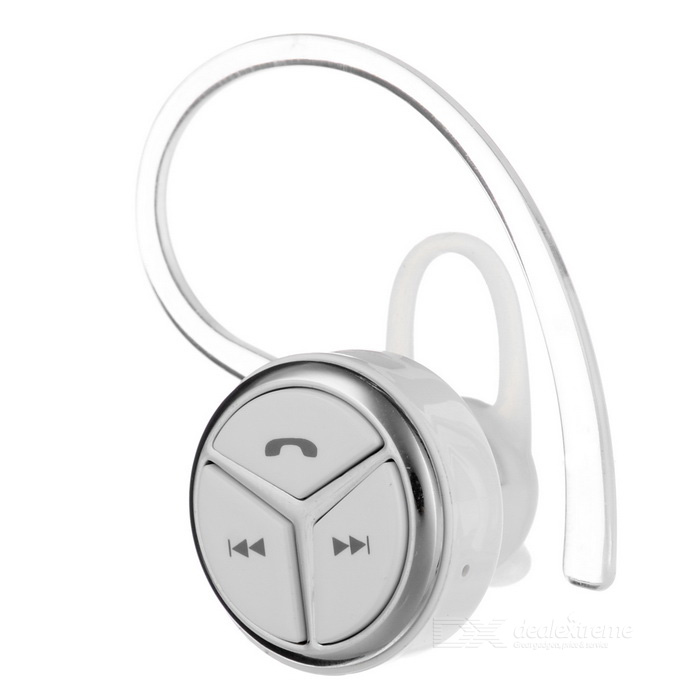 Mini Wireless Ear-hook Stereo Bluetooth V4.1 Headset - White + Silver