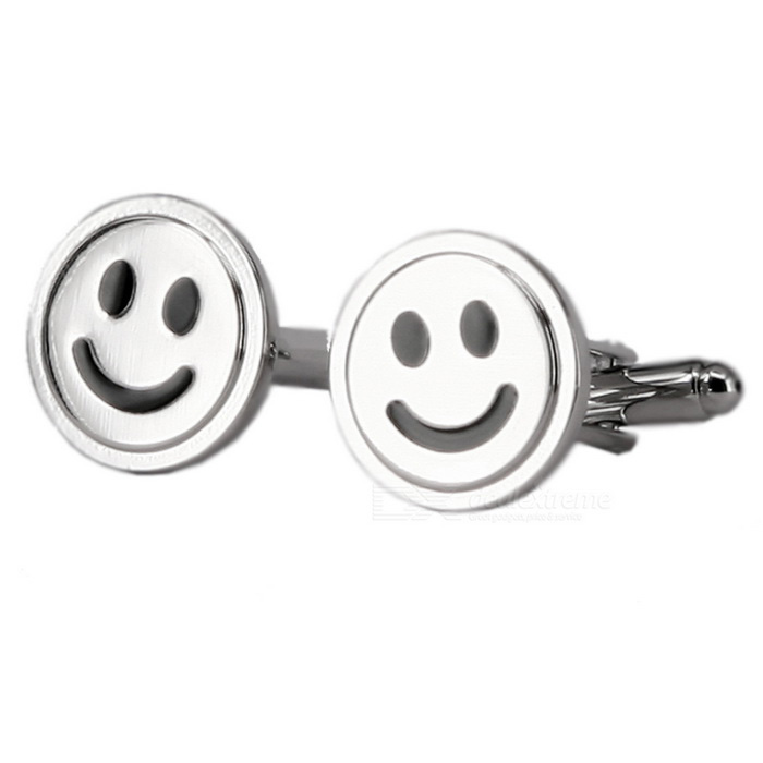 Alloy Material Round Smile Shape Cufflinks - Silver (Pair)