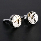 Jewelry Brass Watch Movement Style Cufflinks - Silver + Gold (Pair)