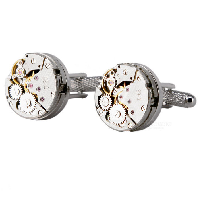 Alloy Material Round Watch Movement Kalvosinnapit - hopea + kulta (pari)