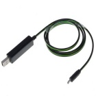 V8 Green Flash Light Micro USB Quick Charging Data Cable - Black(75cm)