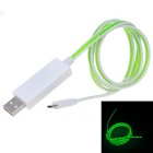 V8 Green Flash Light Micro USB Quick Charging Data Cable - White(75cm)