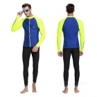 Sbart Men's Scuba Diving Surfing Dive Skin - Blue + Fluorescent (XL)