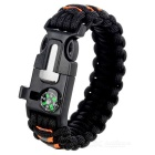 Outdoor Survival Paracord Bracelet - Black + Orange