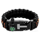 Bracciale Paracord Survival Outdoor - Nero + Arancione
