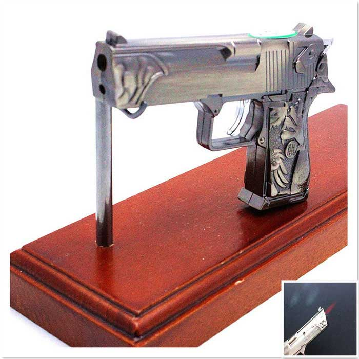 SHENYASHI SYS0105 Creative Gun Shape Butane Gas Lighter - Bronze