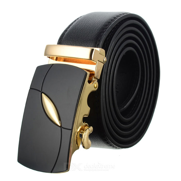 Men's Leaf Pattern Automatic Buckle Belt - Black + Golden