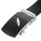 Men's Leaf Pattern Automatic Buckle Belt - Black + Silver