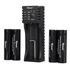 Xpower C1 Charger + 4 PCS 18650 2200maAh IMR Battery + 2 Cases - Black