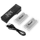Xpower C1 Charger + 4 PCS 18650 2000mAh IMR Batteries + 2 Cases -Black