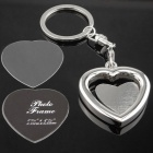 Heart Shaped Photo Frame Style Zinc Alloy Keychain - Silver