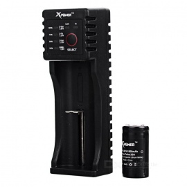 Xpower C1 USB Charger + 800mAh 18350 Battery + Battery Case - Black