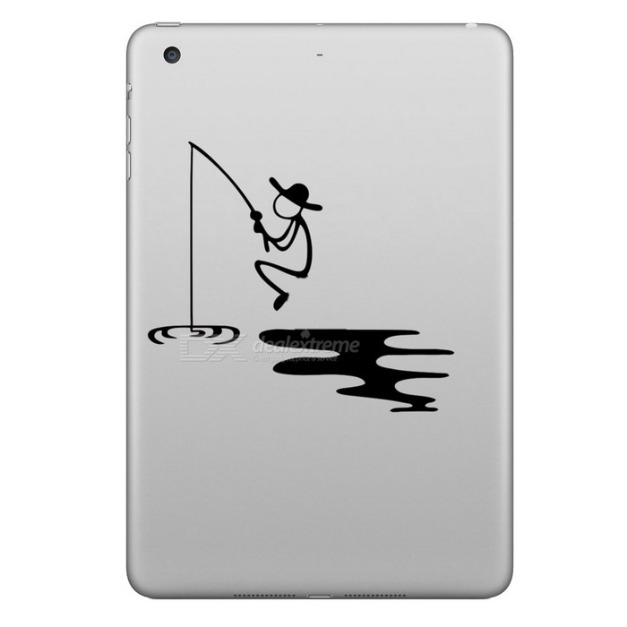 Hat-Prince Fishing Pattern Removable Skin Sticker for IPAD - Black