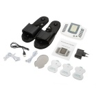 LCD Digital Electronic Pulse Physiotherapy Massage Slippers - Black