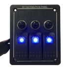 IZTOSS Waterproof Marine LED Rocker Switch Panel - Azul + Preto