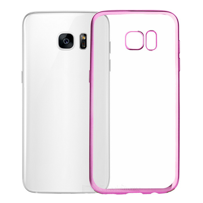 Electroplating PC Case for Samsung Galaxy S7 Edge - Pink + Translucent