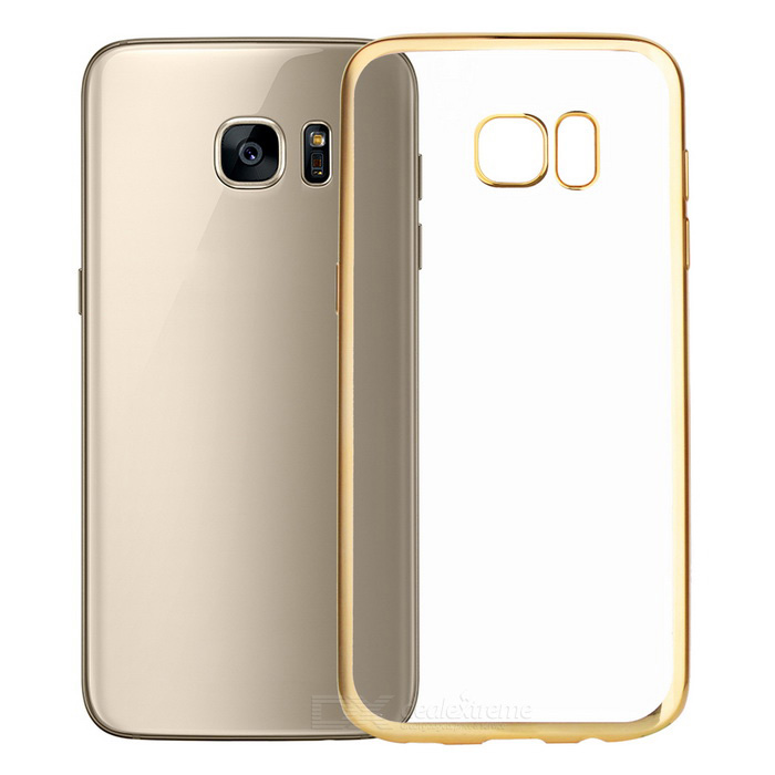 Electroplating PC Case for Samsung Galaxy S7 Edge - Gold + TranslucentPlastic Cases<br>Form  ColorGolden + TransparentModel-MaterialPCQuantity1 DX.PCM.Model.AttributeModel.UnitShade Of ColorGoldCompatible ModelsSamsung Galaxy S7 EdgePacking List1 * Case<br>