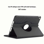 360 'Rotating Desmontable Funda de sarga TPU para IPAD Mini 1/2/3 - Negro