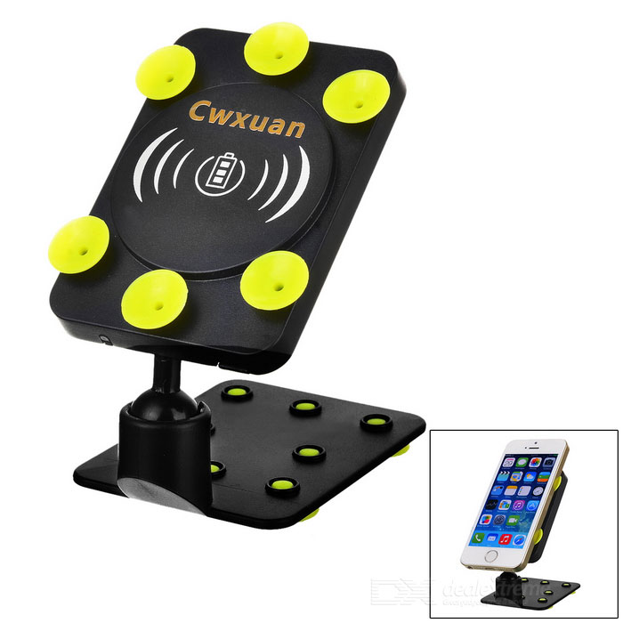 Table / Car Suction Cup Type 360' Rotating Wireless Charging Pad Transmitter for Cellphone