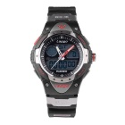 Pasnew Waterproof Silicone Sports Noctilucent Wristwatch - Black + Red