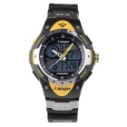Pasnew Waterproof Silicone Noctilucent Wristwatch - Black + Yellow