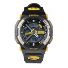 Pasnew PLG-1015AD Waterproof Silicone Wristwatch - Black + Yellow