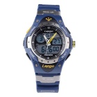 Pasnew Waterproof Silicone Sports Noctilucent Wristwatch - Blue